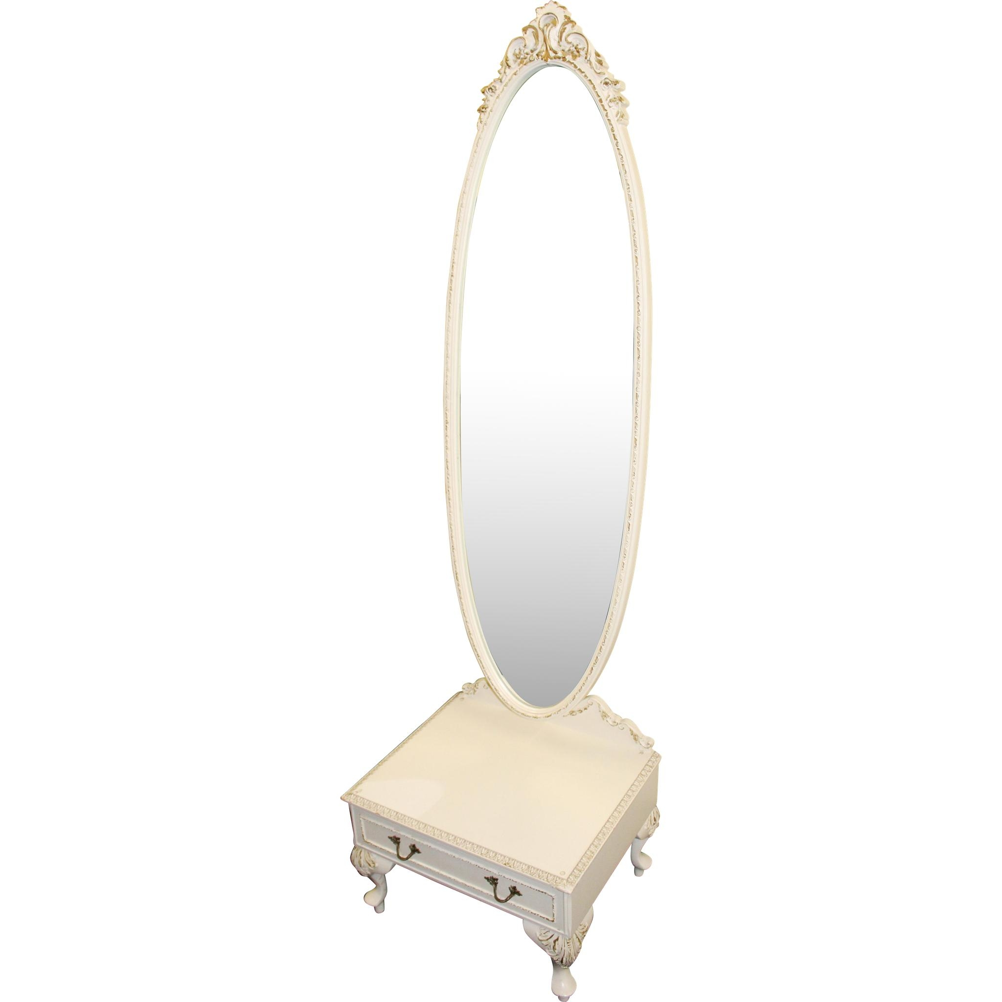 Olympus Louis Xv Style Painted Cream Cheval Mirror From Treasure Intended For Cream Cheval Mirror (View 17 of 20)