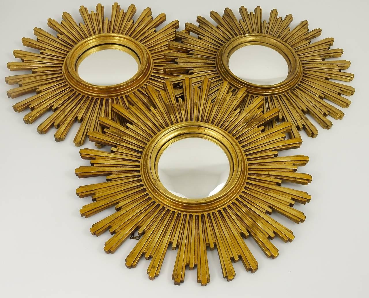 One Of 3 Matching Convex Gilt Wood Sunburst Starburst Mirror Pertaining To Starburst Convex Mirror (Image 15 of 20)