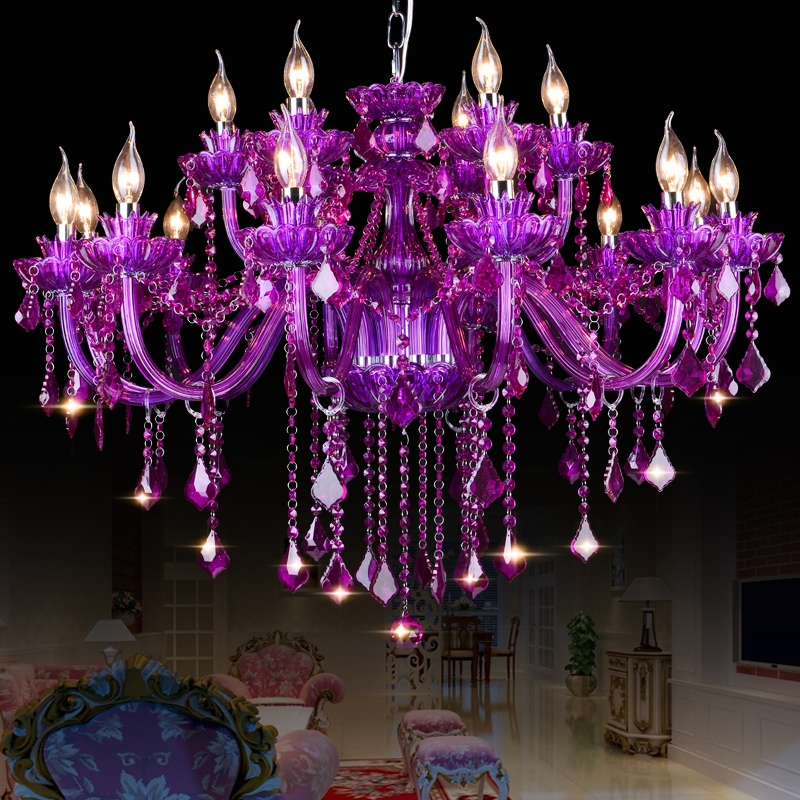 Online Buy Wholesale Purple Crystal Chandelier From China Purple Intended For Purple Crystal Chandeliers (Photo 8 of 25)