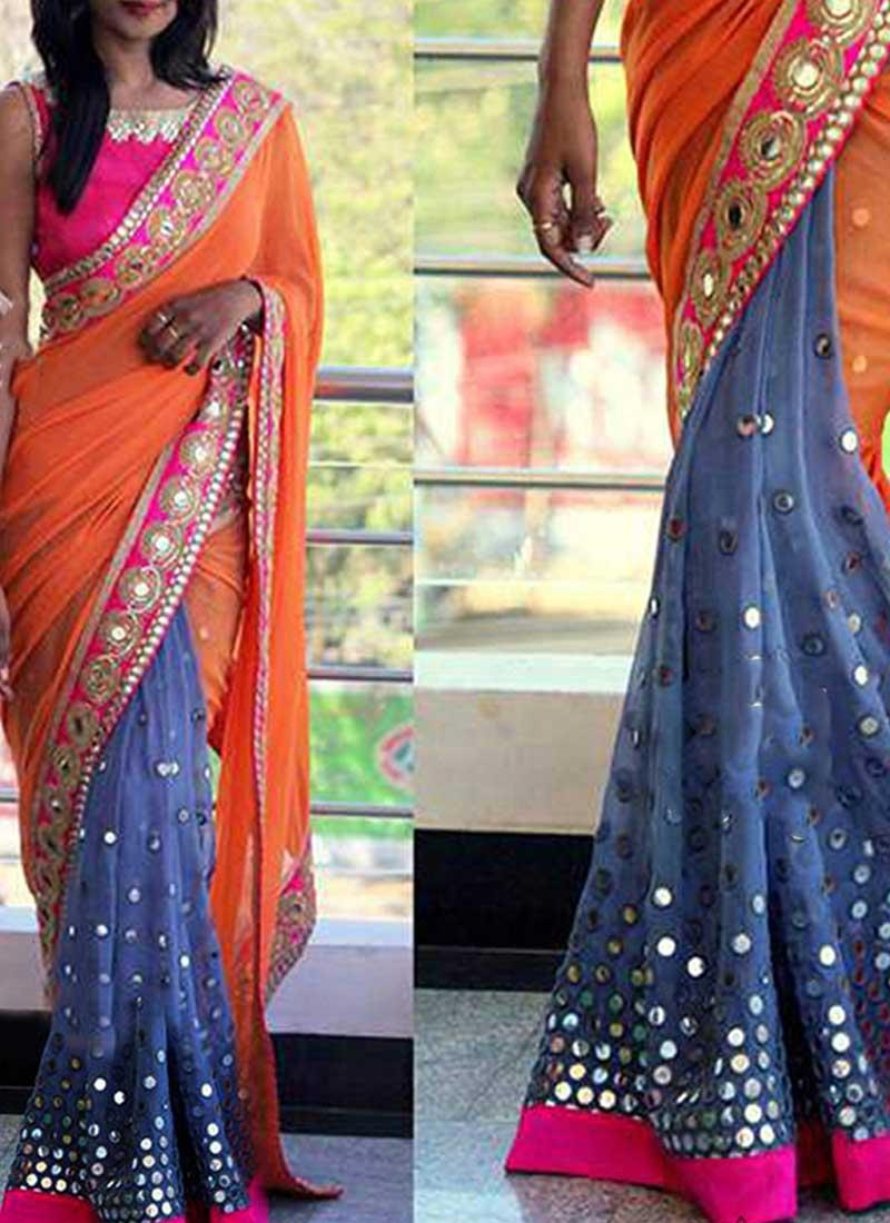 Orange Grey Embroidery Mirror Work Georgette Designer Half Sarees With Regard To Online Shopping Mirror (View 2 of 20)