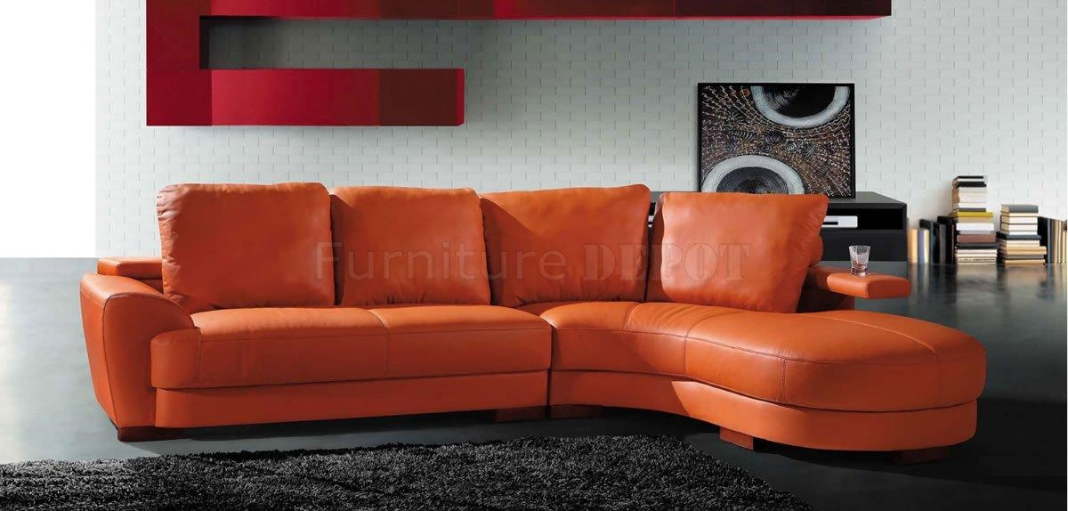 Orange Leather Chesterfield Extraordinary Orange Leather Sofa For Orange Sectional Sofas (View 9 of 20)