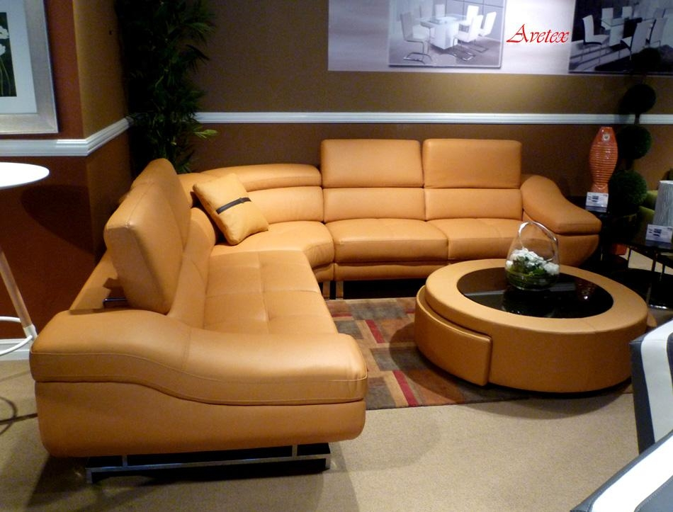 Orange Modern Sectional Sofa B68 | Leather Sectionals With Orange Modern Sofas (Image 13 of 20)