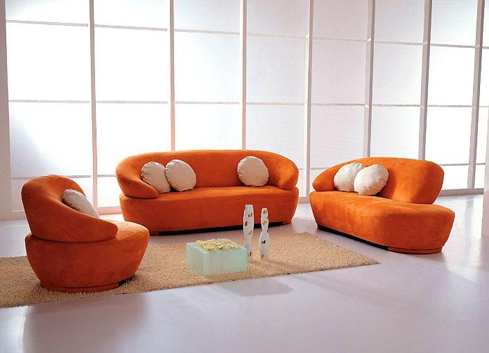 Orange Sectional Sleeper Sofa: 13 Excellent Orange Sectional Sofa Within Orange Modern Sofas (Image 14 of 20)