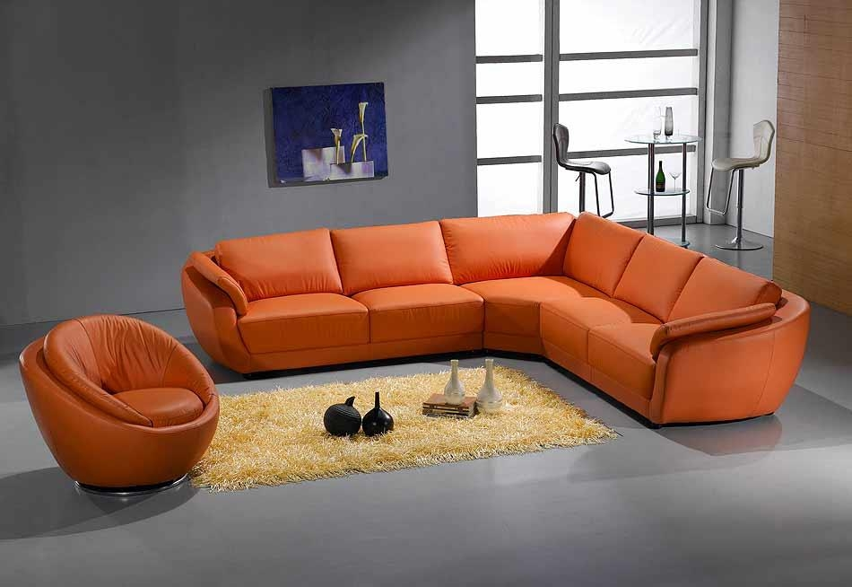 Orange Sectional Sofa Leather 767 | Leather Sectionals Throughout Orange Sectional Sofas (View 4 of 20)