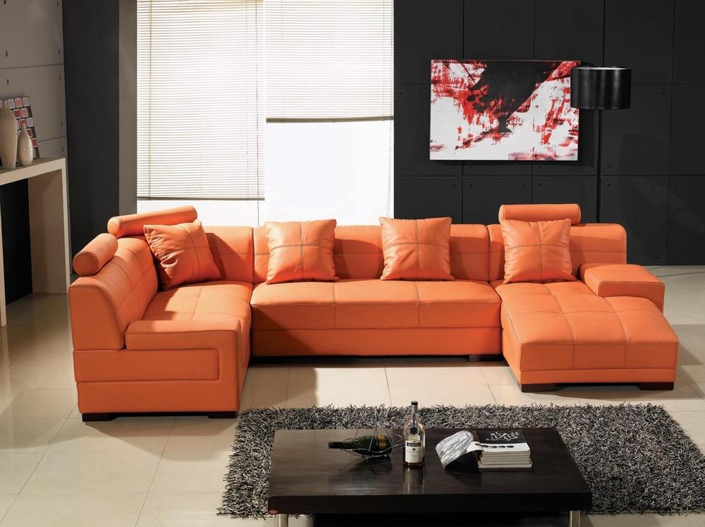 Orange U Shaped Sectional Sofa And Modern Cheap Sectional Sofa In Throughout Orange Sectional Sofas (View 11 of 20)