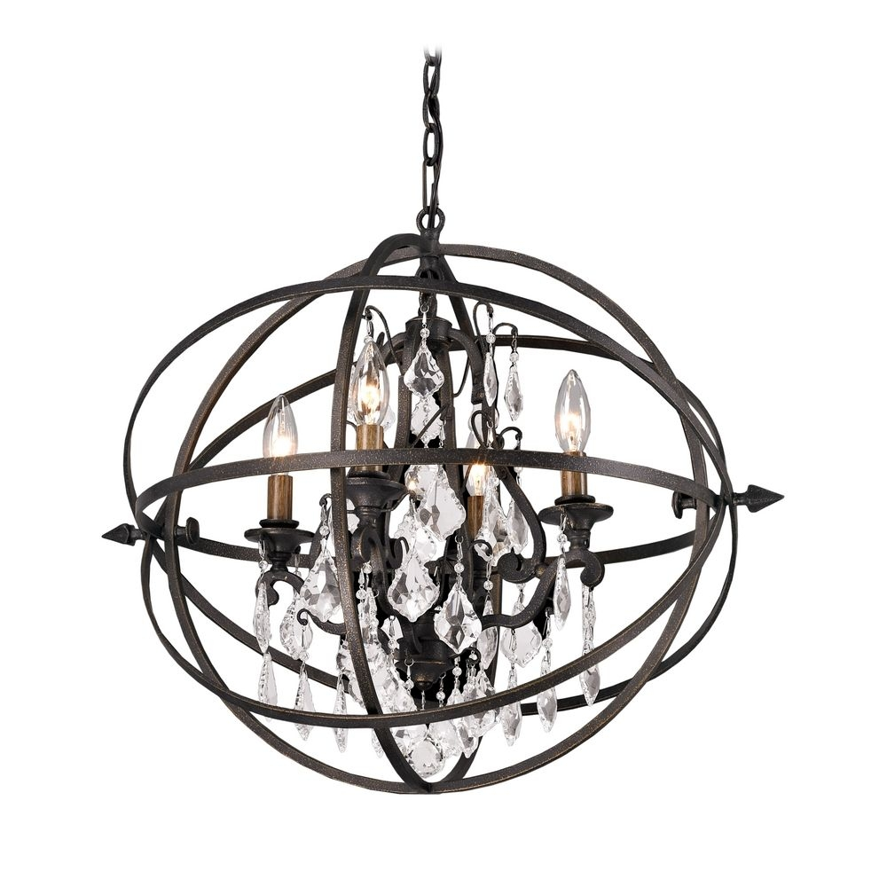 Orb Crystal Chandelier Pendant Light In Bronze Finish F2995 Intended For Orb Chandeliers (Image 23 of 25)