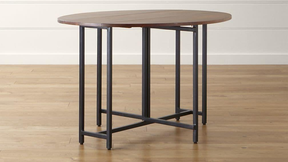 Origami Drop Leaf Oval Dining Table | Crate And Barrel With Regard To Oval Folding Dining Tables (Image 19 of 20)