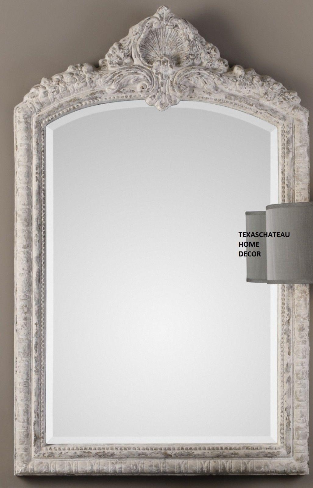 Ornate Antique Cream Arched Wall Mirror French Vanity Bath Regarding Antique Cream Mirror (Image 15 of 20)