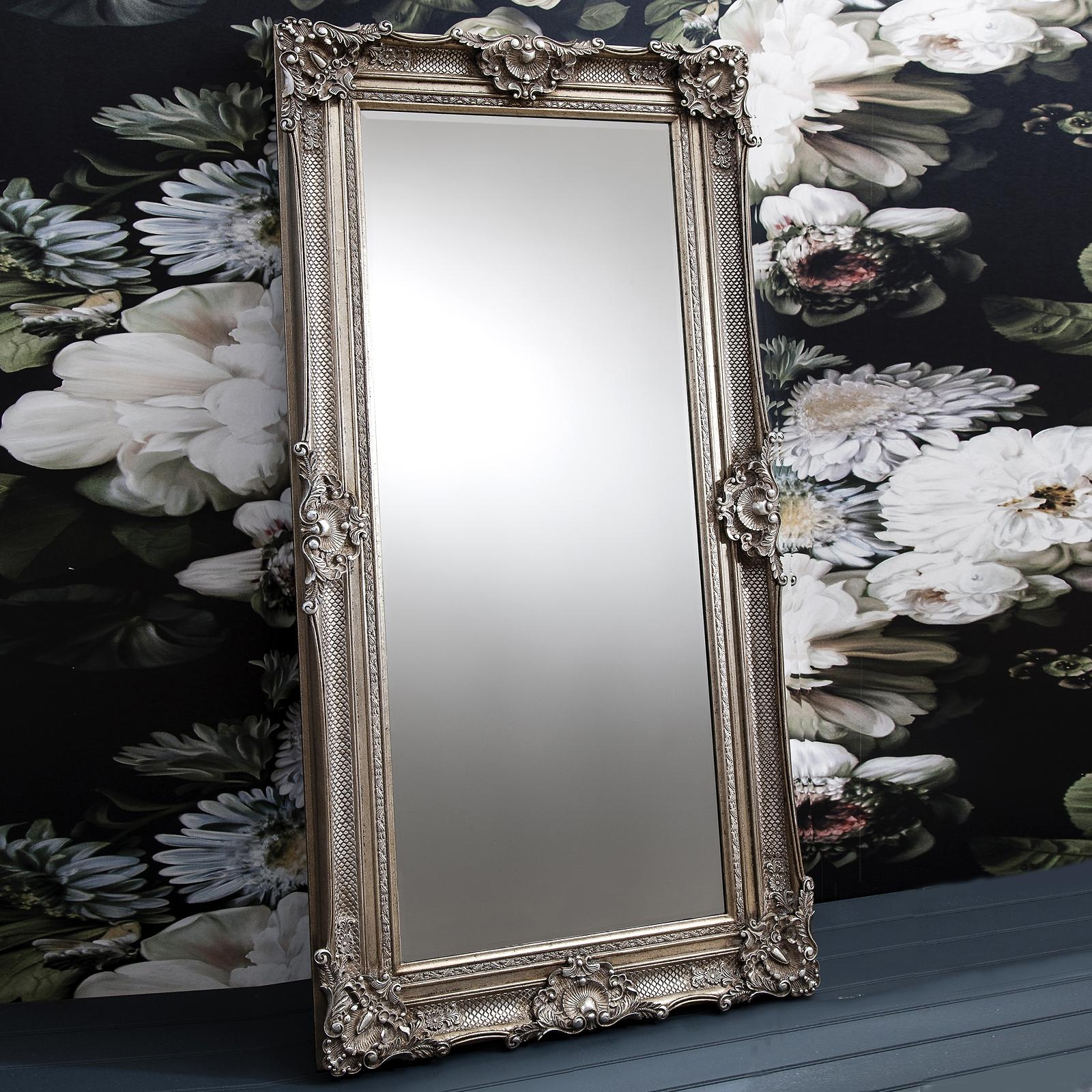 Ornate Antique Silver Floor Standing Mirror – Primrose & Plum Pertaining To Vintage Silver Mirror (Image 12 of 20)