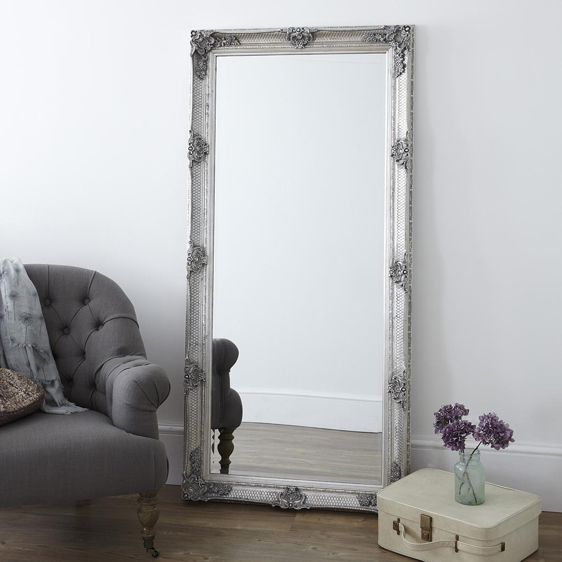 Ornate Antique Silver Floor Standing Mirror – Primrose & Plum With Regard To Floor Dressing Mirror (Image 15 of 20)