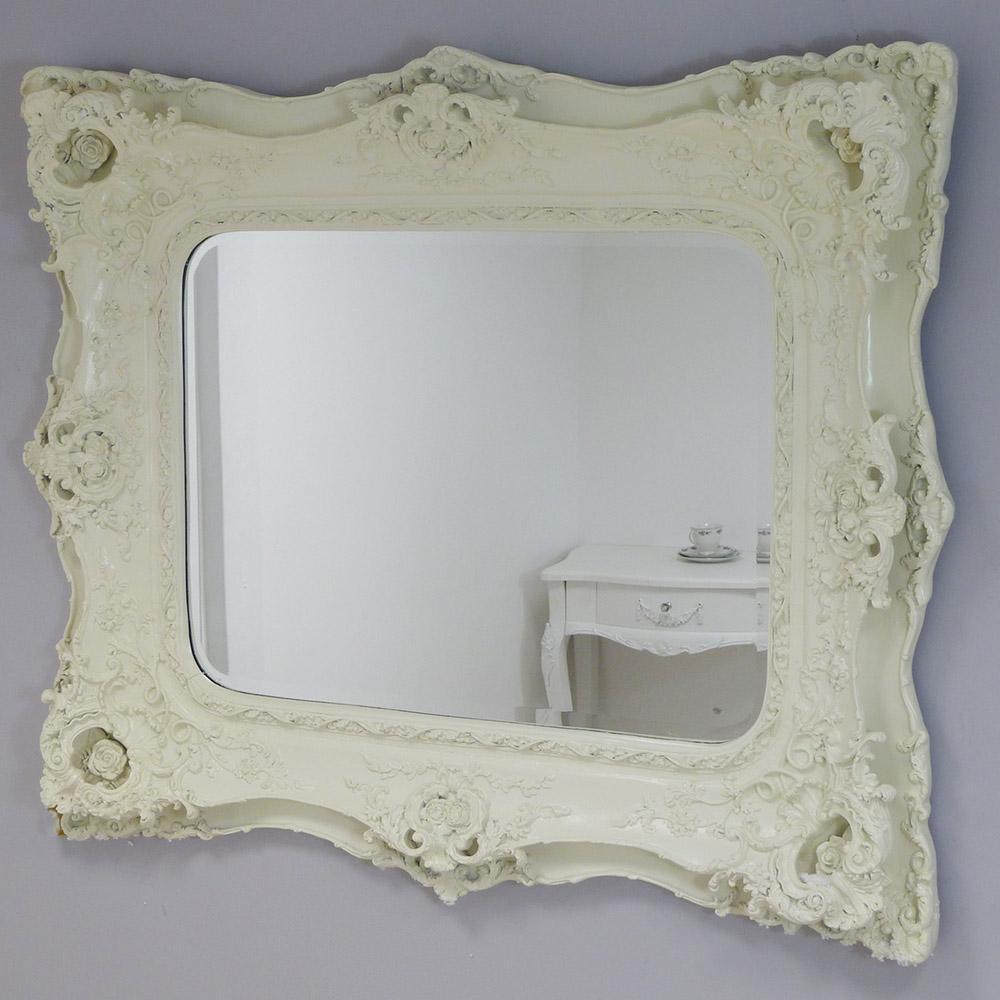Ornate Cream Decorative Mirror 124 X 104Cm Ornate Cream Decorative Intended For Cream Ornate Mirror (View 12 of 20)