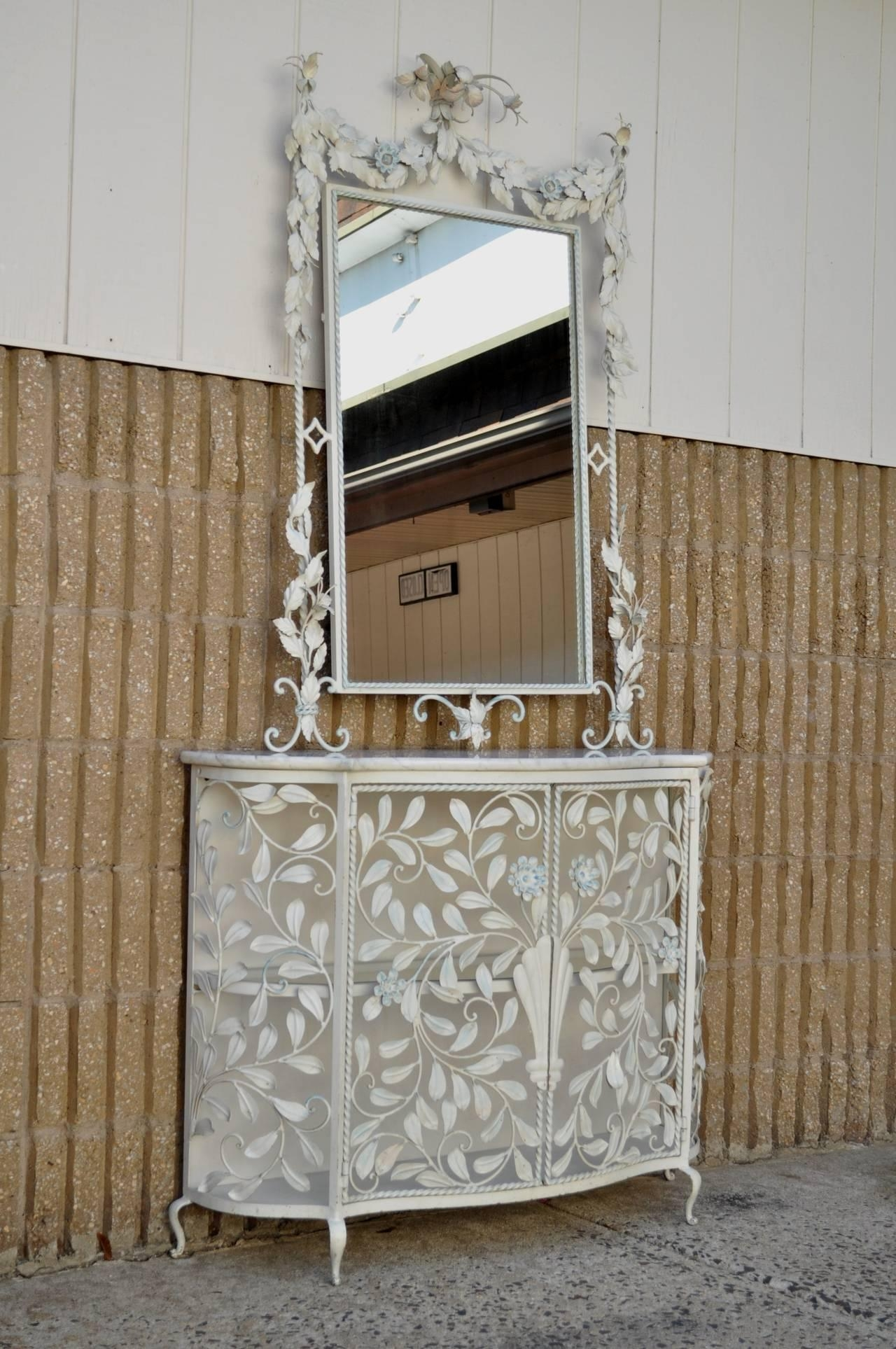 Ornate French Floral Wrought Iron Mirror And Marble Top Console Throughout Rod Iron Mirrors (Image 14 of 20)