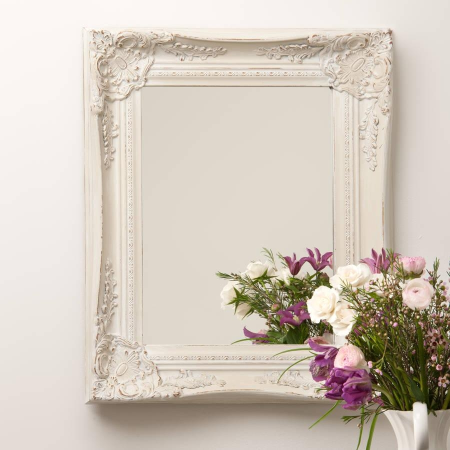 Ornate French Style White Distressed Mirrorhand Crafted Intended For White French Mirror (Image 9 of 20)