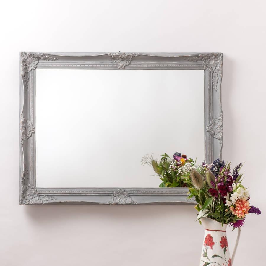 Ornate French Style White Distressed Mirrorhand Crafted Throughout Large White French Mirror (Image 15 of 20)