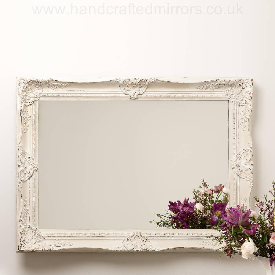 Ornate Hand Painted French Mirrorhand Crafted Mirrors With Regard To White French Mirror (Image 10 of 20)