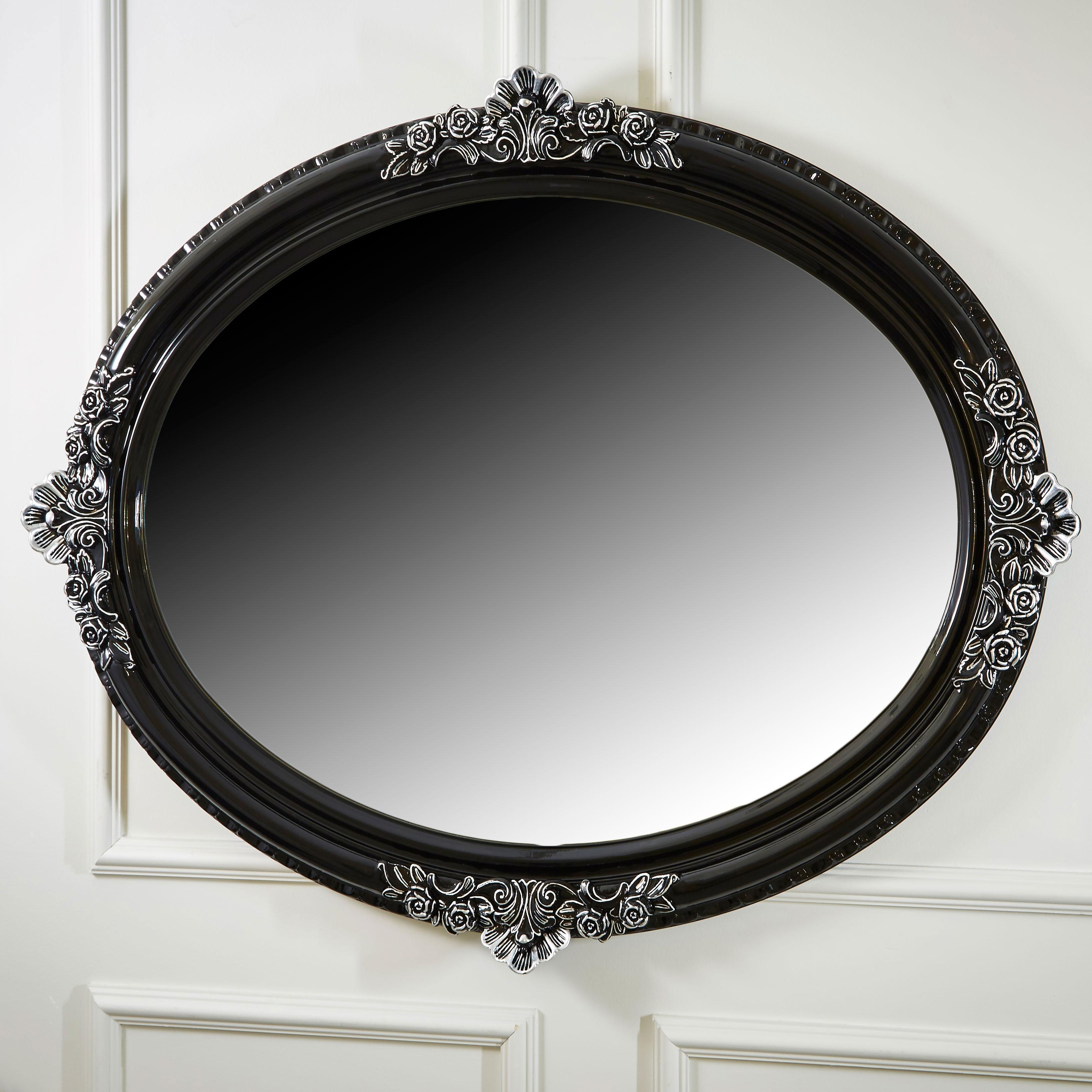 Ornate High Gloss Black Oval Mirror | Juliettes Interiors Throughout Ornate Oval Mirrors (Image 10 of 20)