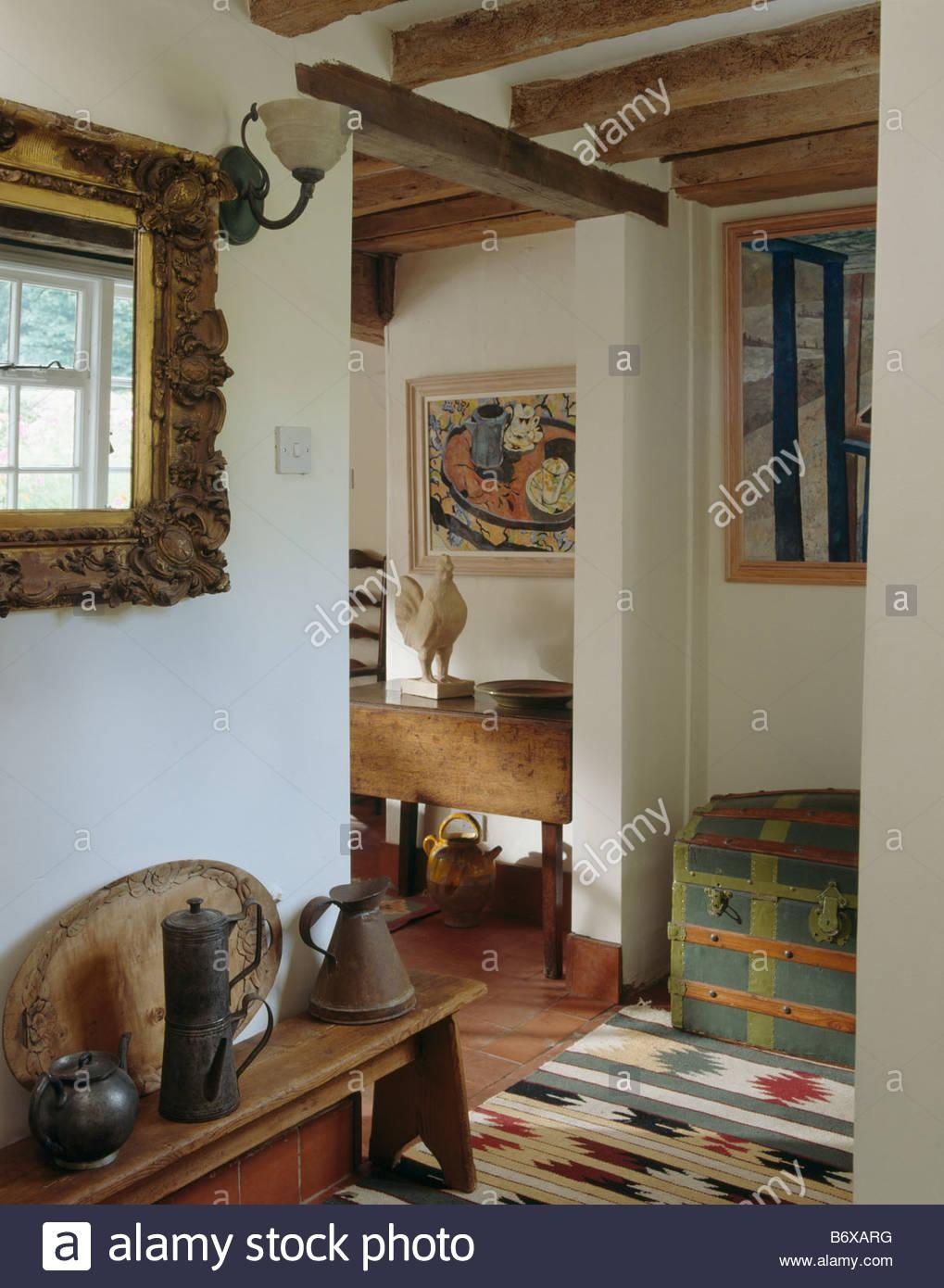 Ornate Mirror Above Wooden Bench With Old Pewter Jugs In Small Intended For Pewter Ornate Mirror (Image 8 of 20)