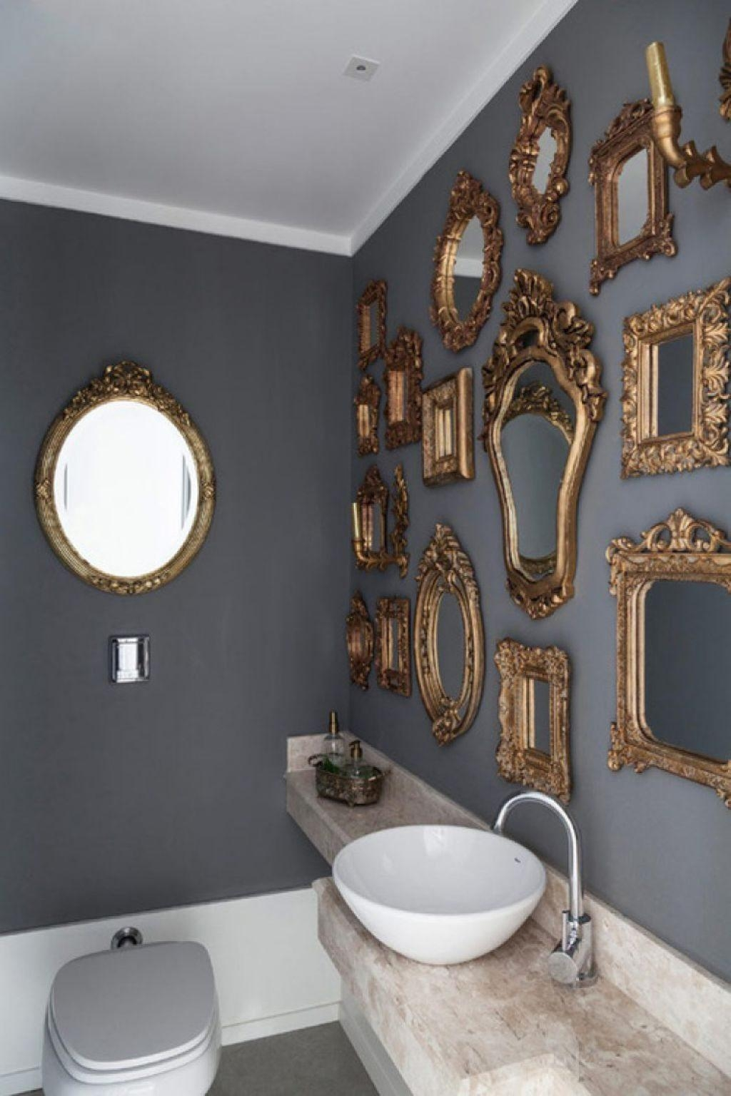 Ornate Mirrors Placed In The Bathroom With Grey Walls – Decorative For Ornate Bathroom Mirrors (Image 18 of 20)