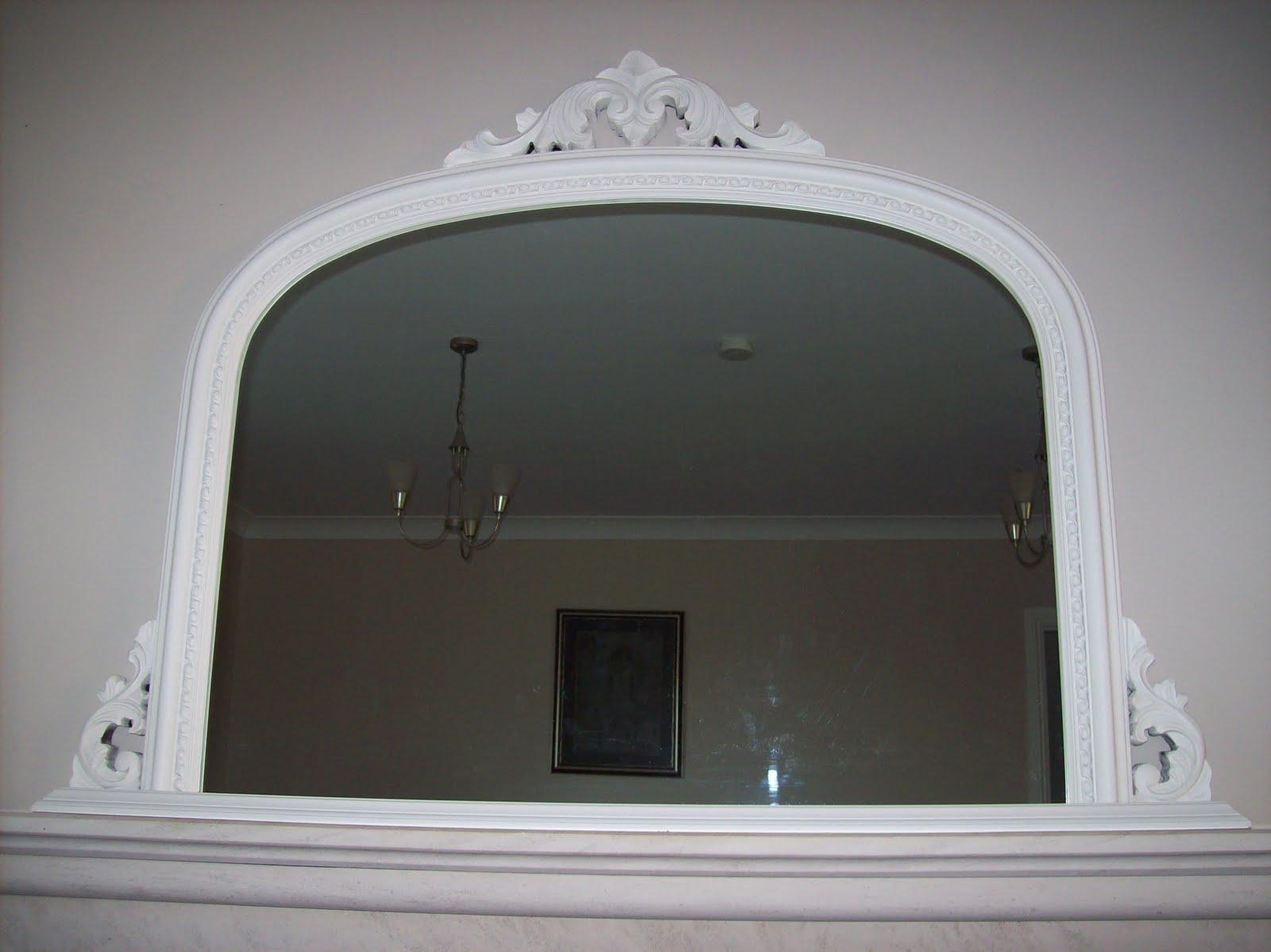 Ornate Overmantle Mirror In White Overmantle Mirror (Image 16 of 20)