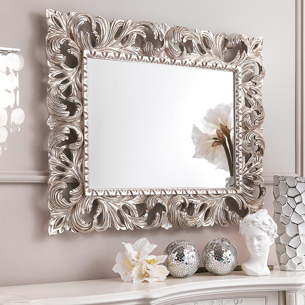 Ornate Silver Bathroom Mirror (Image 9 of 20)