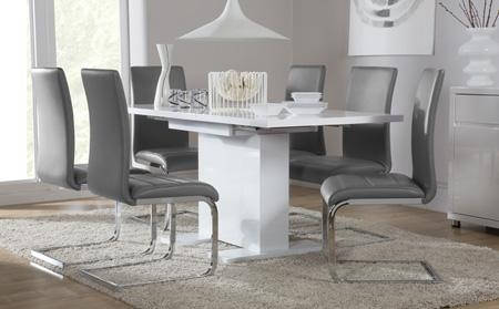 Osaka White High Gloss Extending Dining Table And 6 Chairs Set In Extendable Dining Table And 6 Chairs (Image 15 of 20)