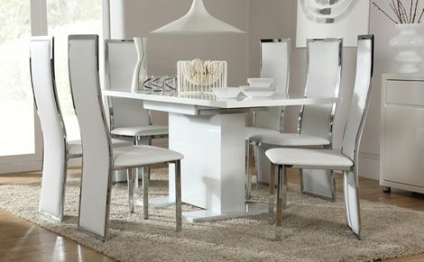 Osaka White High Gloss Extending Dining Table And 6 Chairs Set Throughout Extendable Dining Table And 6 Chairs (Image 16 of 20)