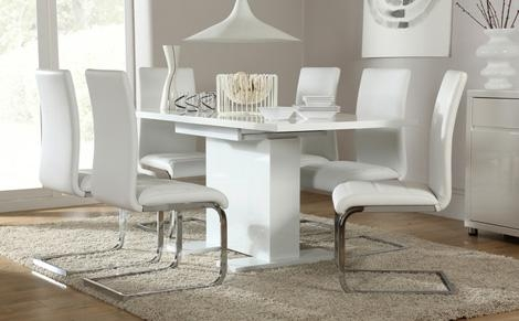 Osaka White High Gloss Extending Dining Table And 6 Chairs Set With Regard To White Extending Dining Tables (Image 15 of 20)