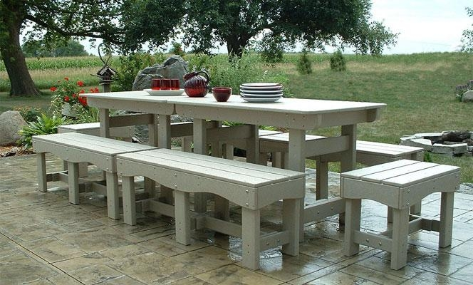 Outdoor Patio Set | Recycled Plastic Table And Benches | Garden Chairs With Regard To Garden Dining Tables And Chairs (Image 16 of 20)
