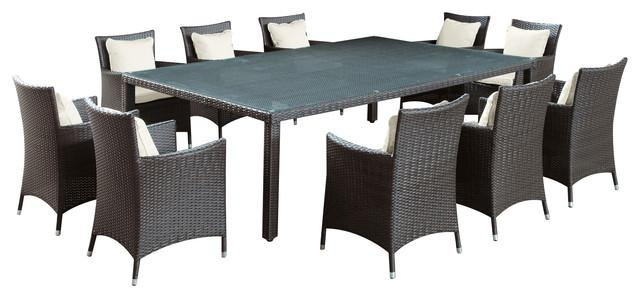 Outdoor Wicker Dining Table And 10 Chair Set – Contemporary Within Dining Table And 10 Chairs (View 20 of 20)