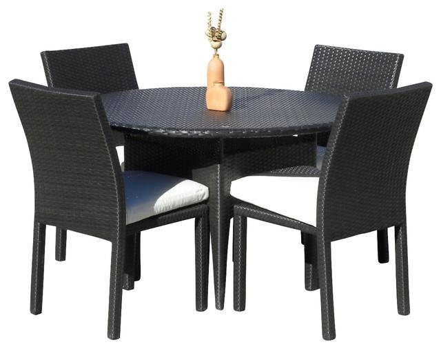 Outdoor Wicker New Resin 5 Piece Round Dining Table And Chair Set Throughout Outdoor Dining Table And Chairs Sets (Image 11 of 20)
