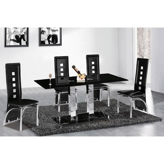 Outstanding Black Glass Dining Table And 6 Chairs Metro Deluxe With Cheap Glass Dining Tables And 6 Chairs (Image 18 of 20)