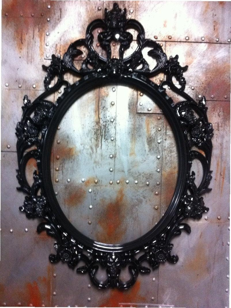 Oval Black Framed Mirror 150 Outstanding For Allen Roth In X For Black Shabby Chic Mirror (Image 16 of 20)