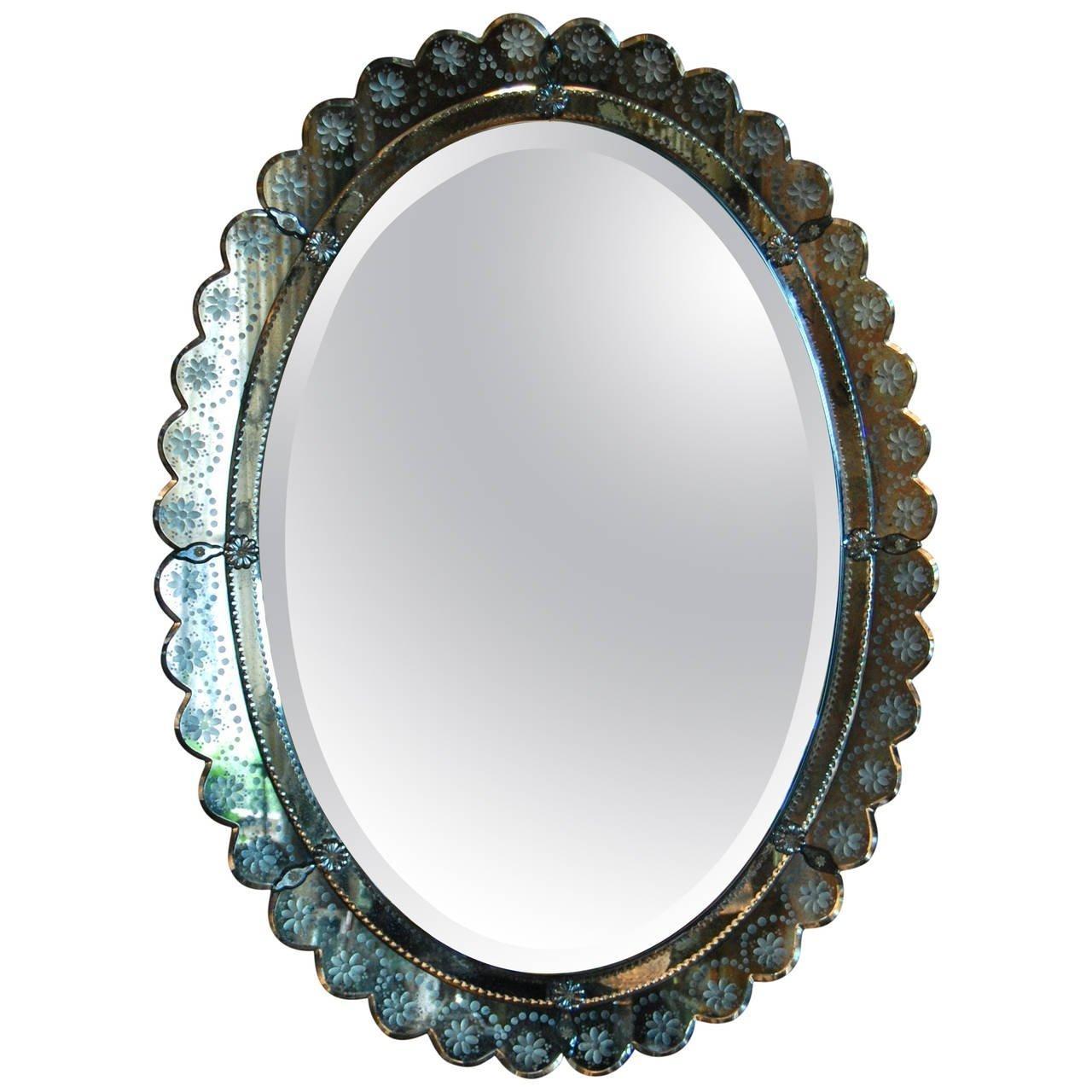 Oval Italian Art Deco Wall Mirror, Circa 1930 – 1940 For Sale At Within Art Deco Wall Mirror (Image 16 of 20)