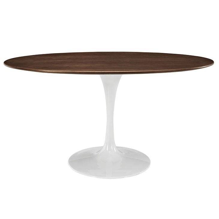 "Oval Shaped 60"" Walnut Modern Round Dining Table Within Nora Dining Tables (View 14 of 20)"