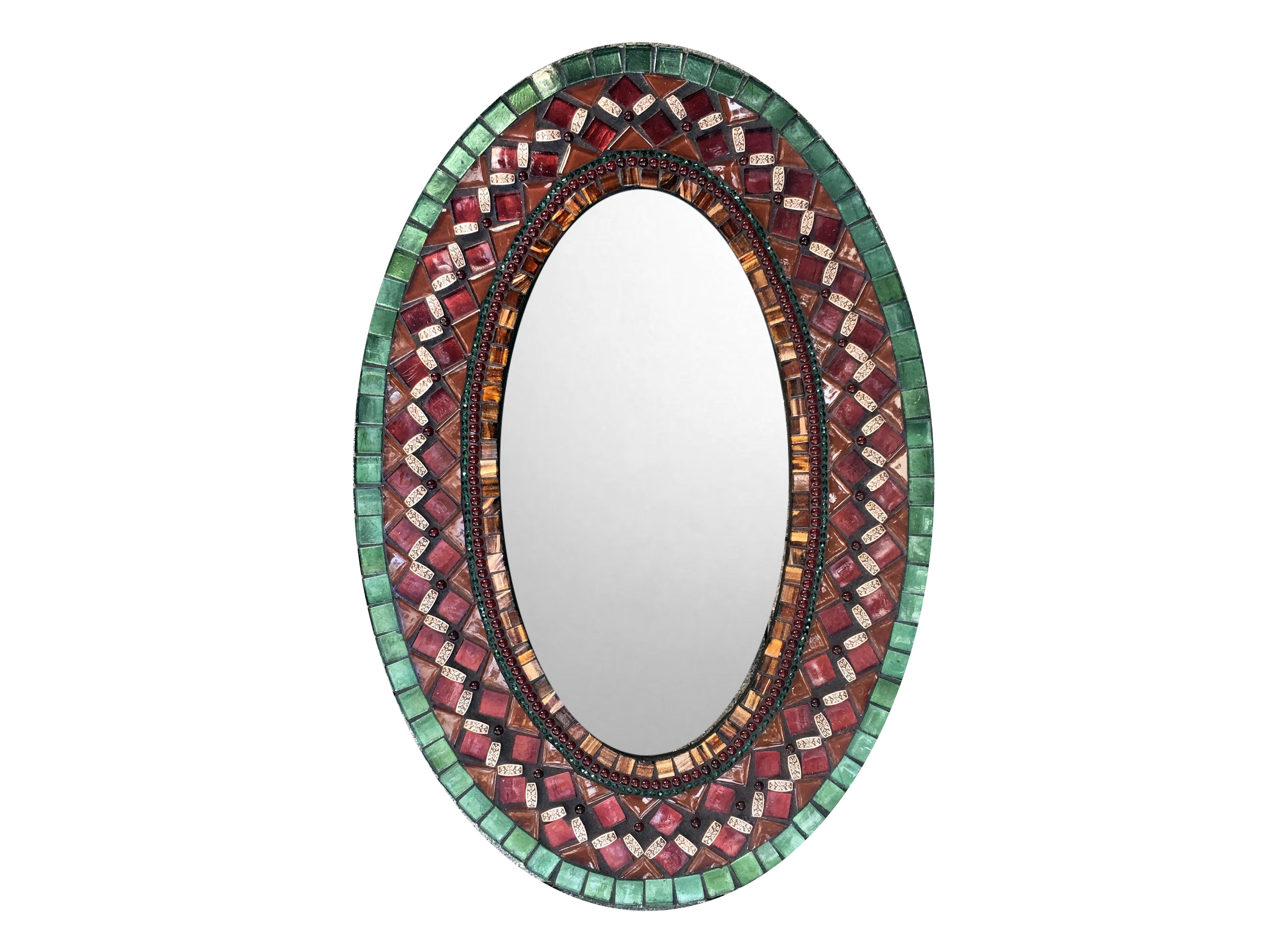 Oval Wall Mirror In Red, Green, Brown Mosaic – : In Red Wall Mirror (View 20 of 20)