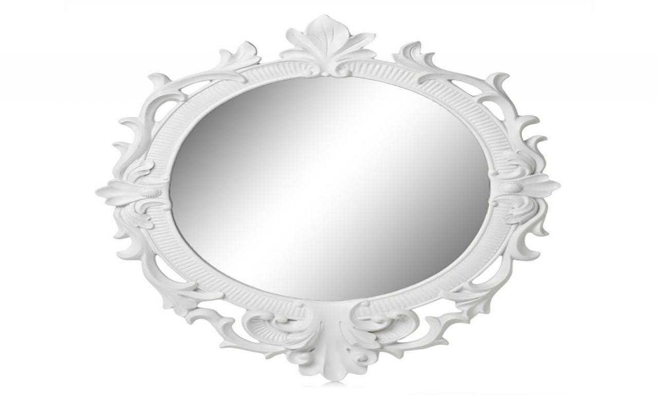 Oval White Mirror, White Rococo Mirror Oval White Oval Wall Mirror Within White Rococo Mirror (Image 14 of 20)