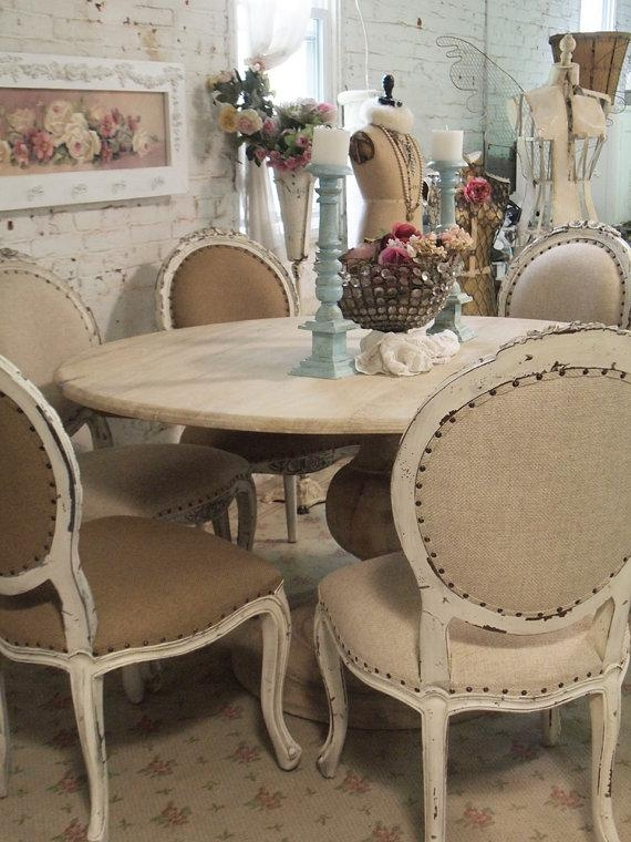 Painted Cottage Chic Shabby French Linen Round Dining Table Farm Intended For French Chic Dining Tables (Image 18 of 20)