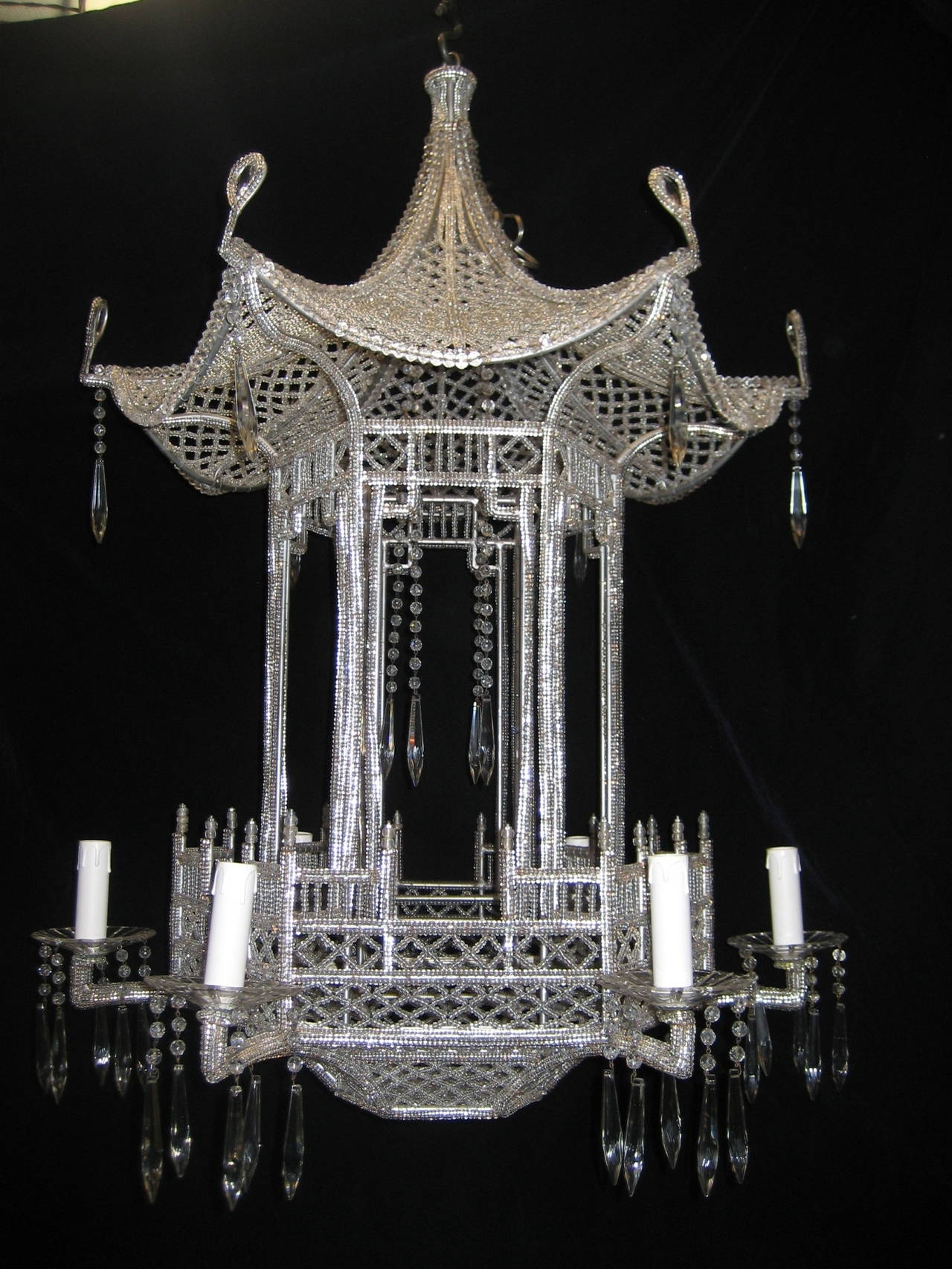 Pair Of Italian Chinoiserie Pagoda Form Beaded Glass And Crystal In Chinoiserie Chandeliers (Image 14 of 25)