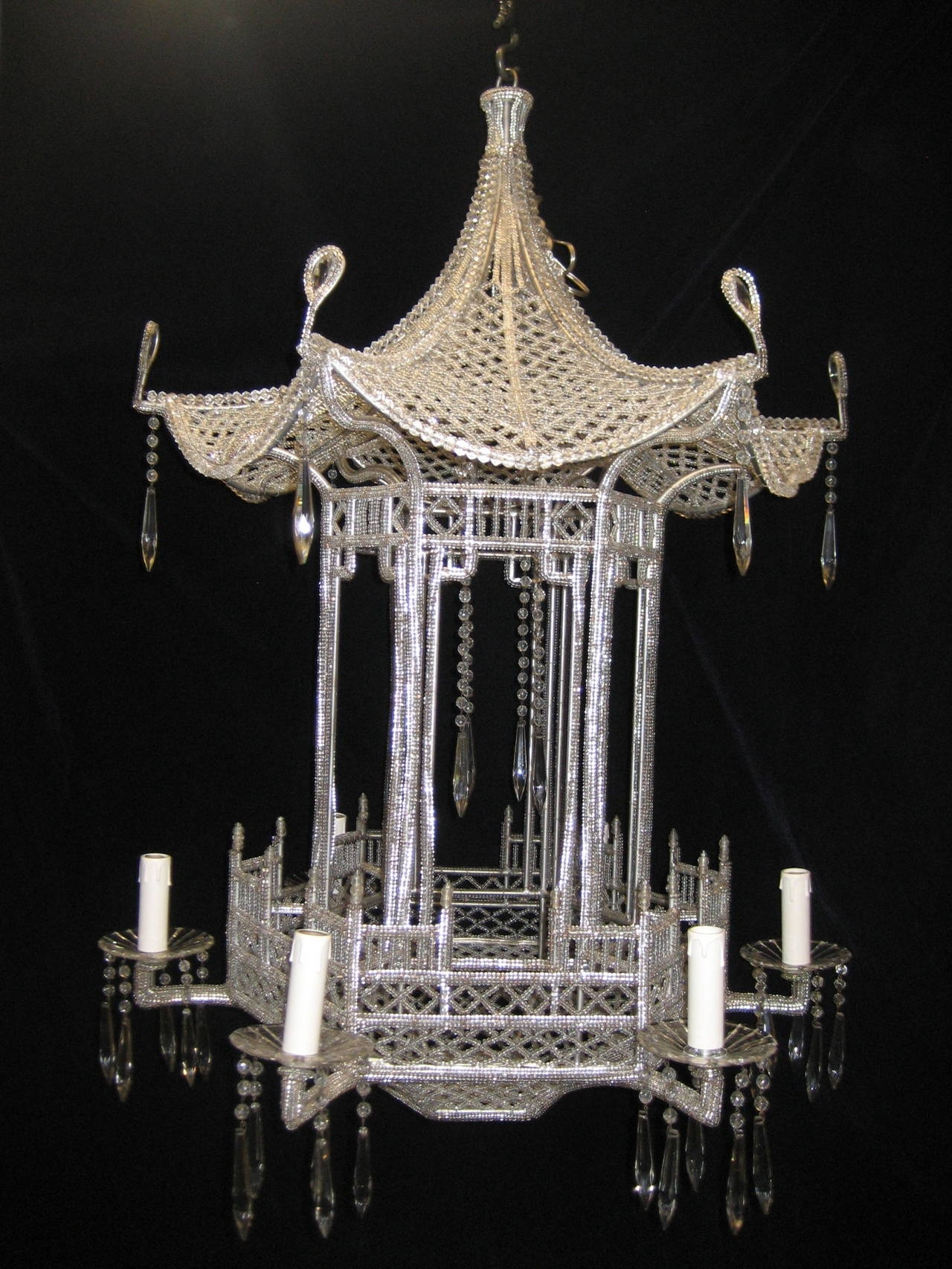 Pair Of Italian Chinoiserie Pagoda Form Beaded Glass And Crystal Throughout Chinoiserie Chandeliers (Image 15 of 25)