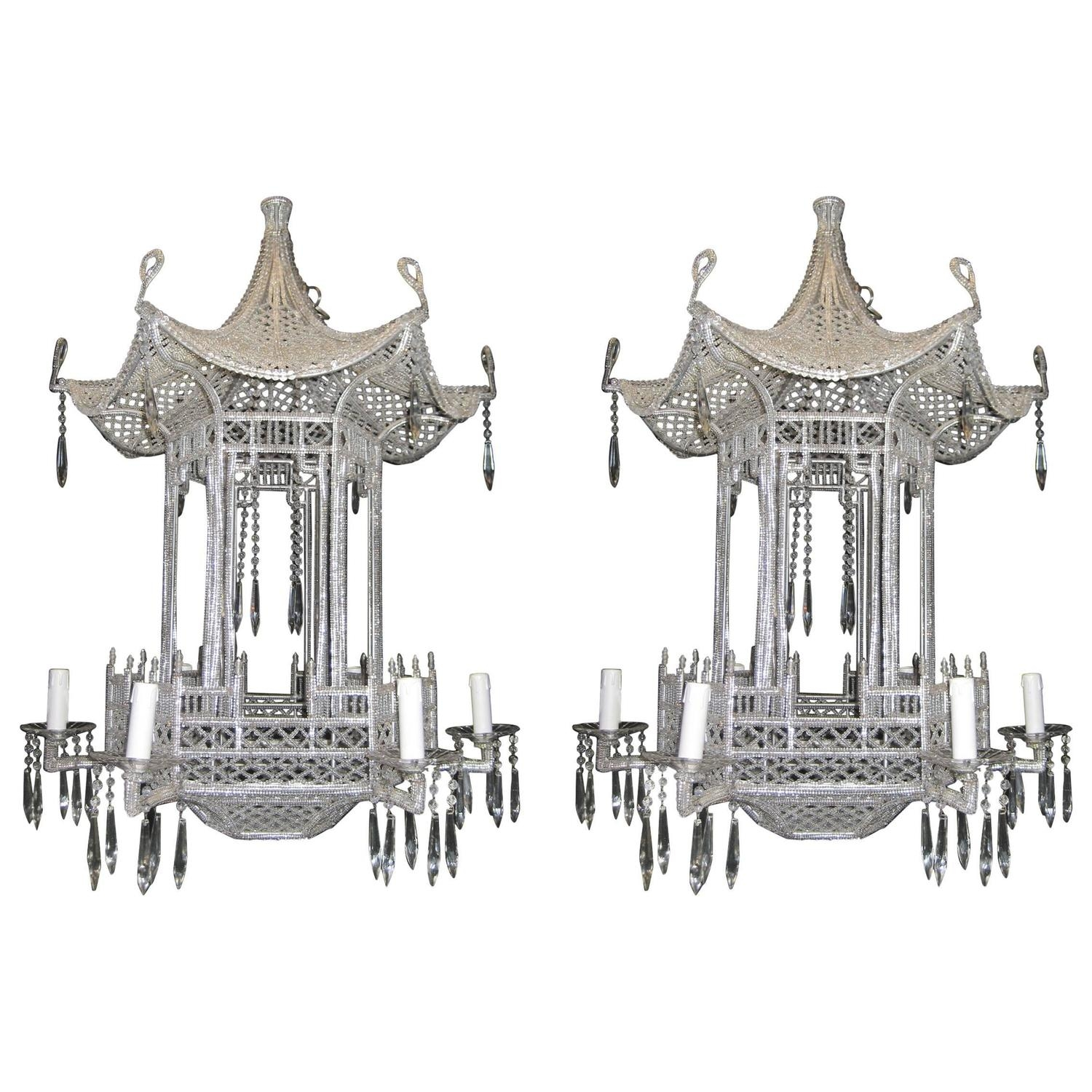Pair Of Italian Chinoiserie Pagoda Form Beaded Glass And Crystal Within Chinoiserie Chandeliers (Image 16 of 25)