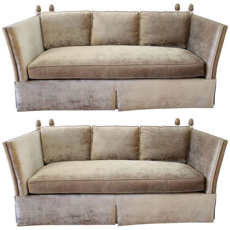 Pair Of Knoll Style Sofas With Acorn Finials In Champagne Velvet Throughout Knoll Sofas (View 2 of 20)