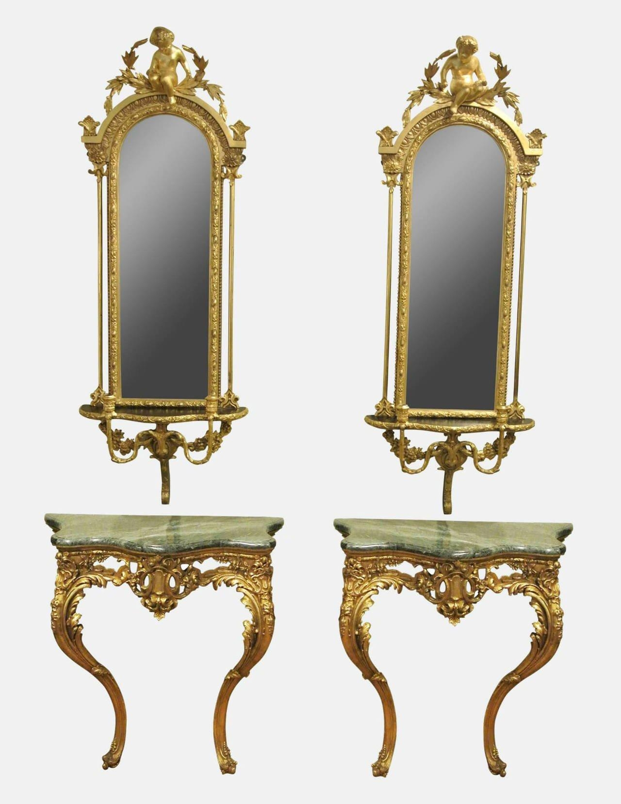 Pair Of Victorian Giltwood And Gesso Console Tables And Girandole For Victorian Style Mirrors (View 20 of 20)