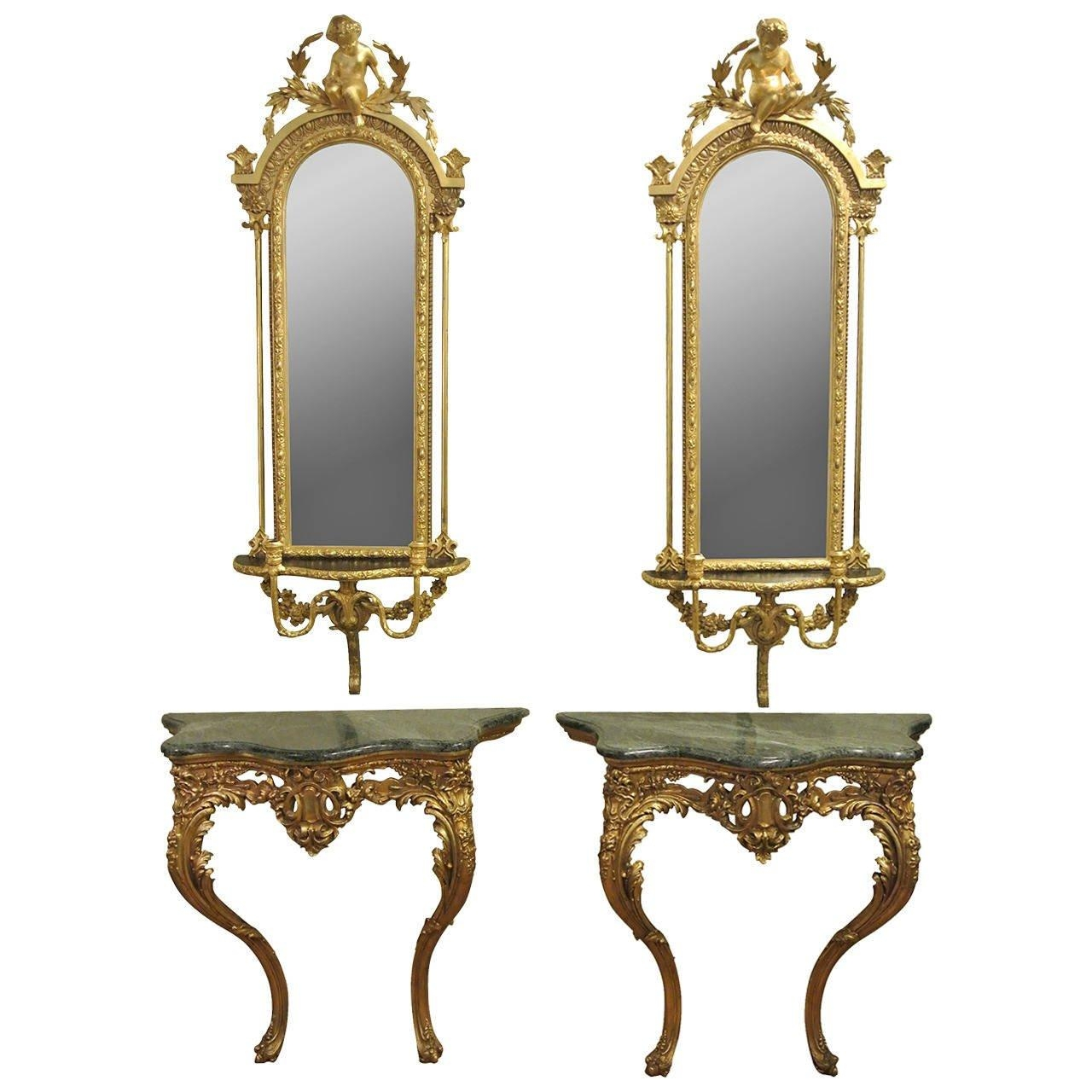Pair Of Victorian Giltwood And Gesso Console Tables And Girandole With Victorian Style Mirrors (View 18 of 20)