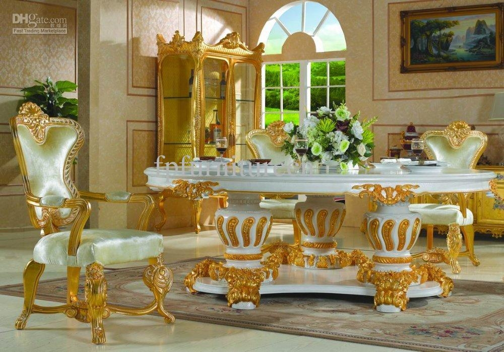 Palace Royal Classic Furniture,handwork Gilding Golden Foil Throughout Royal Dining Tables (Image 11 of 20)