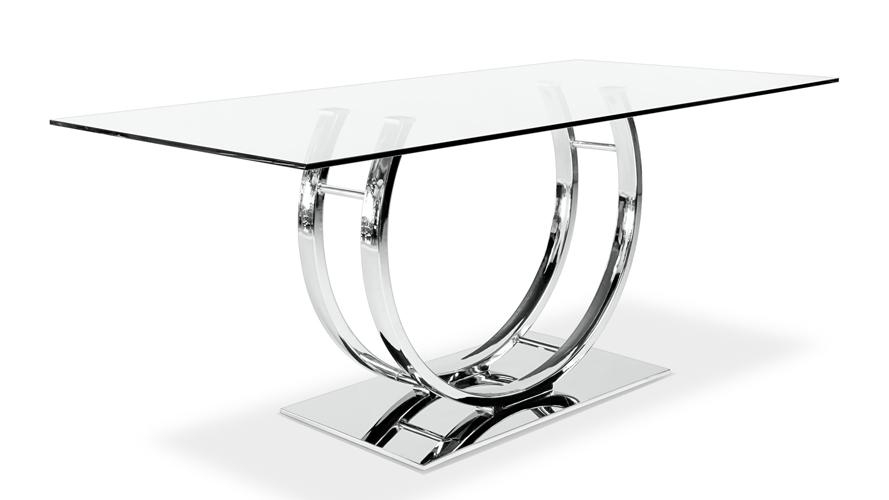 Palazzo Glass Modern Dining Table With Polished Chrome Base | Zuri Intended For Chrome Dining Tables (View 18 of 20)
