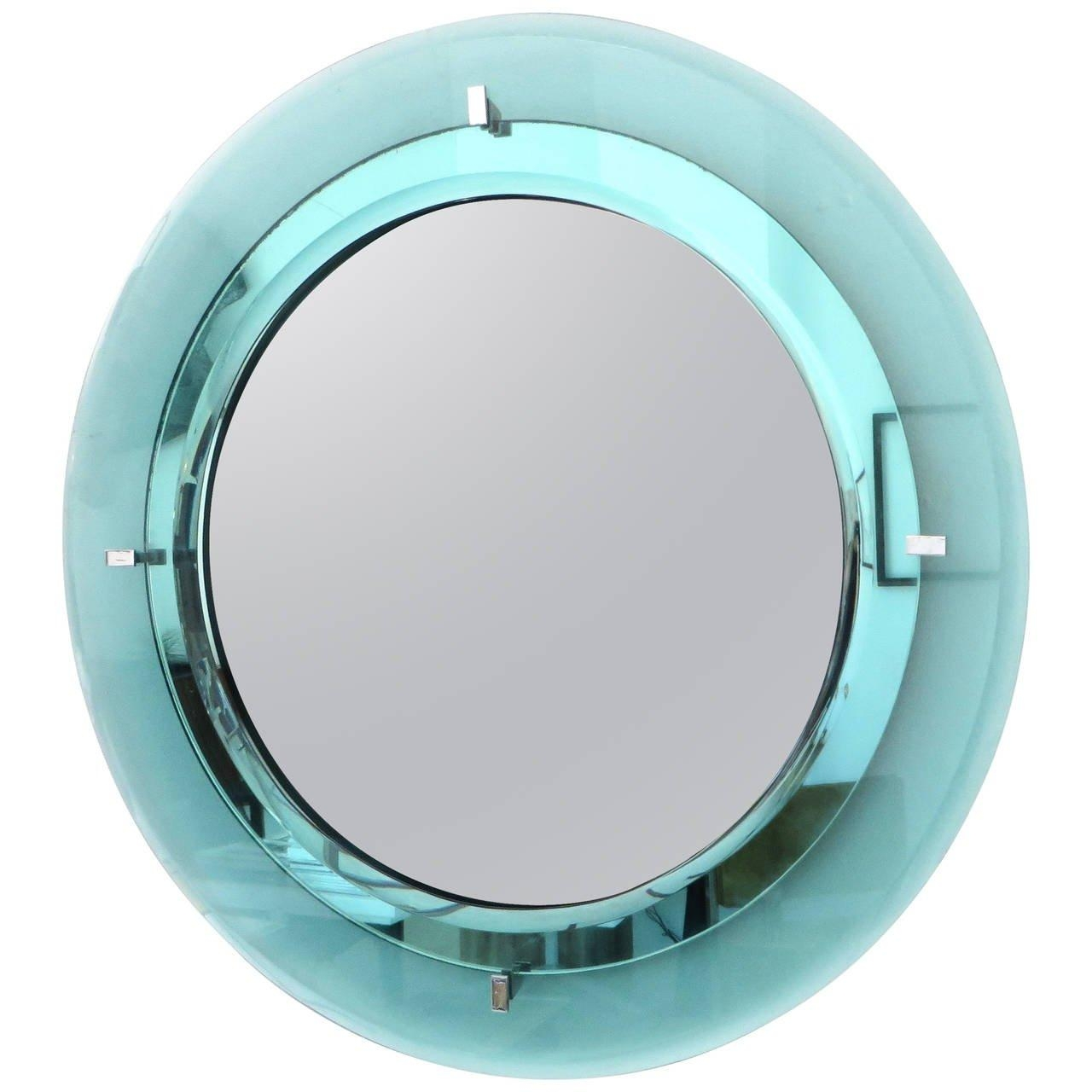 Pale Aqua Blue Italian Fontana Arte Round Beveled Mirror At 1Stdibs For Round Bevelled Mirror (Image 7 of 20)