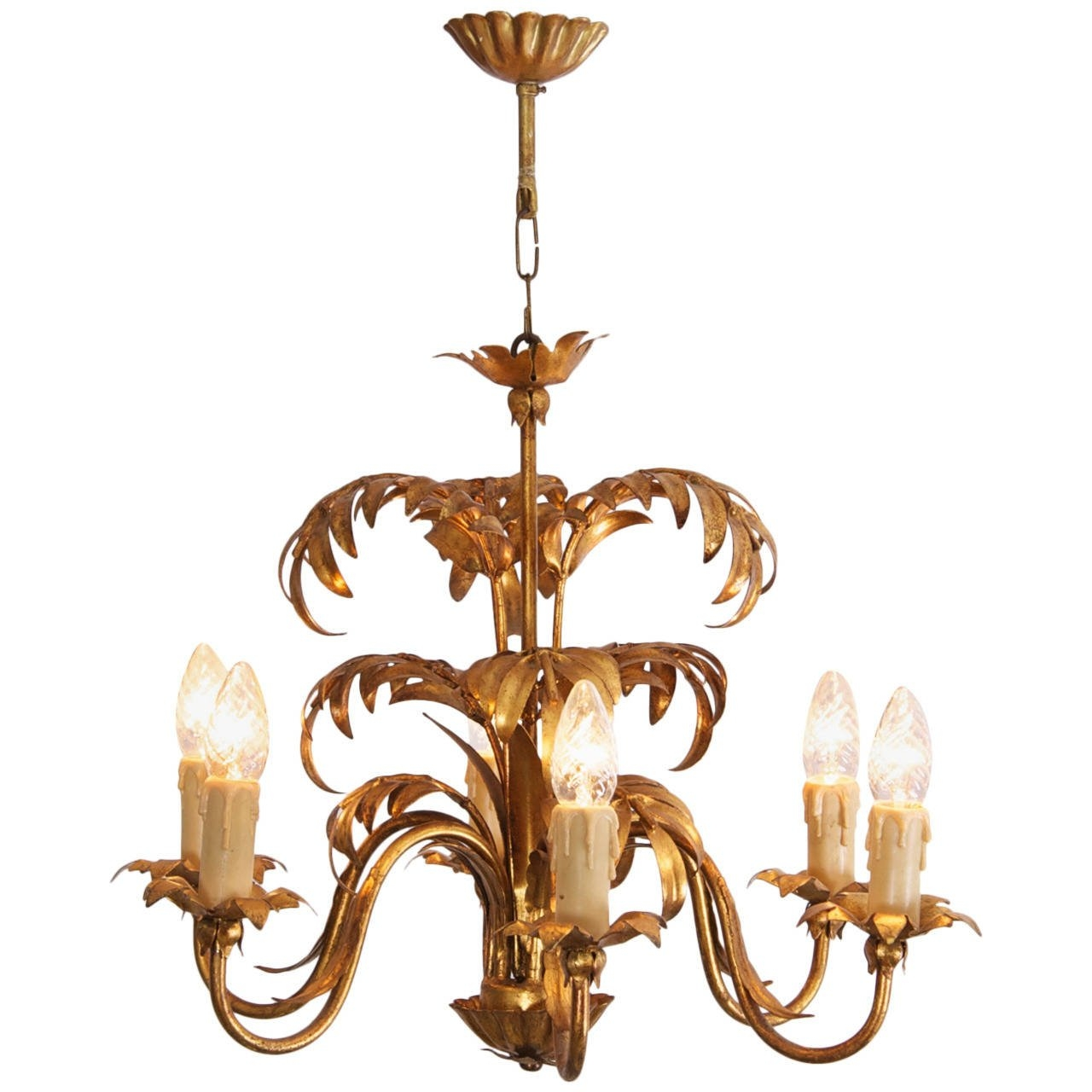 Palm Beach Frond Tree Leaf Leaves Chandelier Metal Tole Vintage Regarding Chinoiserie Chandeliers (Image 17 of 25)