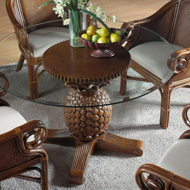 Palm Indoor Rattan & Wicker Pineapple Dining Table In Wicker And Glass Dining Tables (Image 14 of 20)