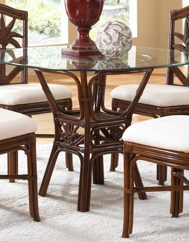 Palm Indoor Rattan & Wicker Round Dining Table In Wicker And Glass Dining Tables (Image 15 of 20)