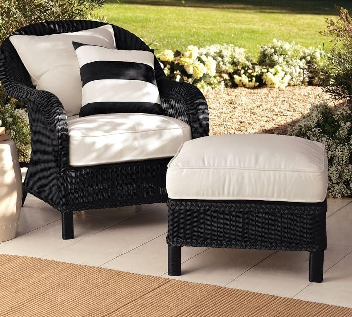 Palmetto All Weather Wicker Armchair – Black | Pottery Barn Within Black Wicker Sofas (Image 10 of 20)
